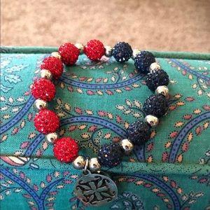 Red & Navy Rustic Cuff Bracelet